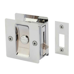 Gainsborough Sliding Rectangular Cavity Door Set – Privacy. Bright Chrome.